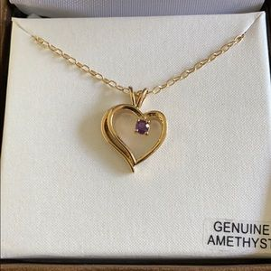 Jewelry - NWT Genuine Amethyst Gold Heart Necklace
